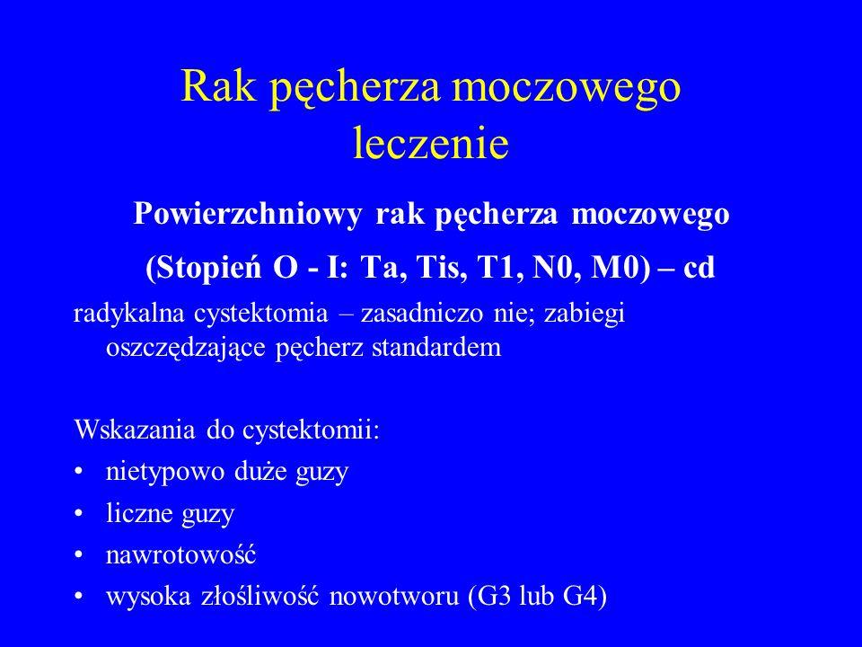 Rak pęcherza moczowego leczenie Powierzchniowy rak pęcherza moczowego (Stopień O - I: Ta, Tis, T1, N0, M0) – cd radykalna cystektomia – zasadniczo nie; zabiegi oszczędzające pęcherz standardem Wskazania do cystektomii: nietypowo duże guzy liczne guzy nawrotowość wysoka złośliwość nowotworu (G3 lub G4)