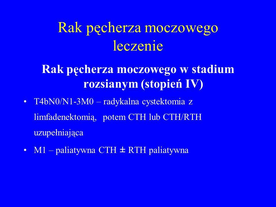 Rak pęcherza moczowego leczenie Rak pęcherza moczowego w stadium rozsianym (stopień IV) T4bN0/N1-3M0 – radykalna cystektomia z limfadenektomią, potem CTH lub CTH/RTH uzupełniająca M1 – paliatywna CTH ± RTH paliatywna