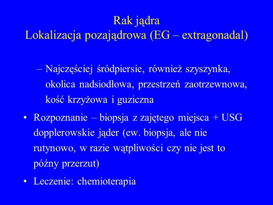 Rak jądra Lokalizacja pozajądrowa (EG – extragonadal) –Najczęściej śródpiersie, również szyszynka, okolica nadsiodłowa, przestrzeń zaotrzewnowa, kość krzyżowa i guziczna Rozpoznanie – biopsja z zajętego miejsca + USG dopplerowskie jąder (ew.