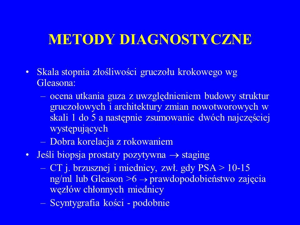 METODY DIAGNOSTYCZNE Skala stopnia złośliwości gruczołu krokowego wg Gleasona: –ocena utkania guza z uwzględnieniem budowy struktur gruczołowych i architektury zmian nowotworowych w skali 1 do 5 a następnie zsumowanie dwóch najczęściej występujących –Dobra korelacja z rokowaniem Jeśli biopsja prostaty pozytywna  staging –CT j.