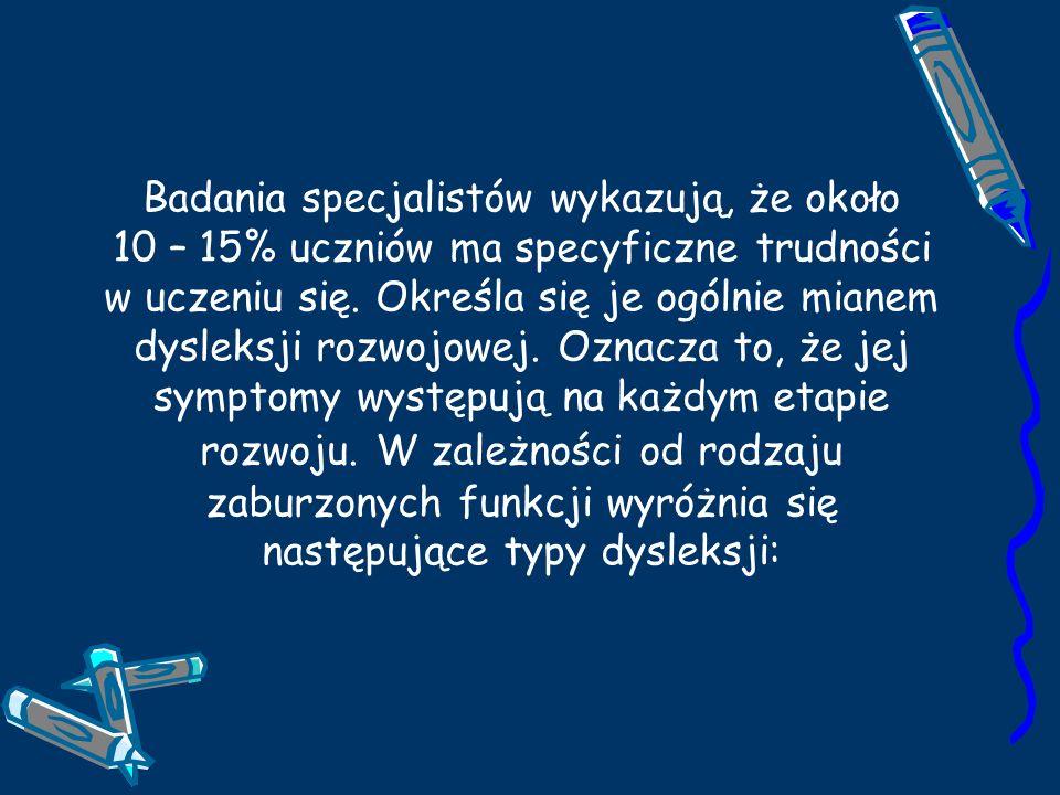 Dysleksja wzrokowa – zaburzenia funkcji wzrokowych, Dysleksja słuchowa - zaburzenia funkcji słuchowych, Dysleksja mieszana – wzrokowa i słuchowa, Dysleksja integracyjna – uwarunkowana zaburzeniami współdziałania funkcji