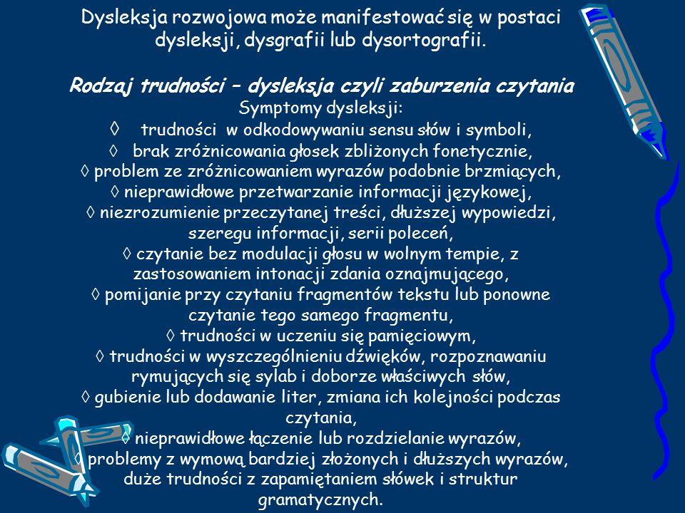 Dysleksja rozwojowa może manifestować się w postaci dysleksji, dysgrafii lub dysortografii.
