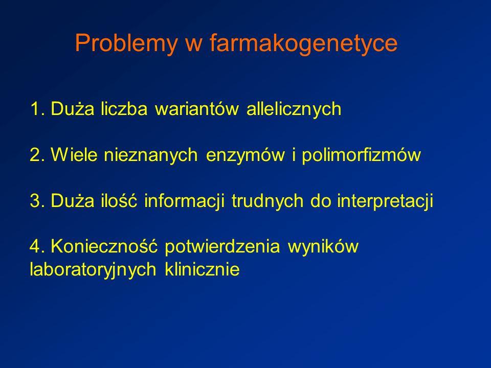 Problemy w farmakogenetyce 1.Duża liczba wariantów allelicznych 2.