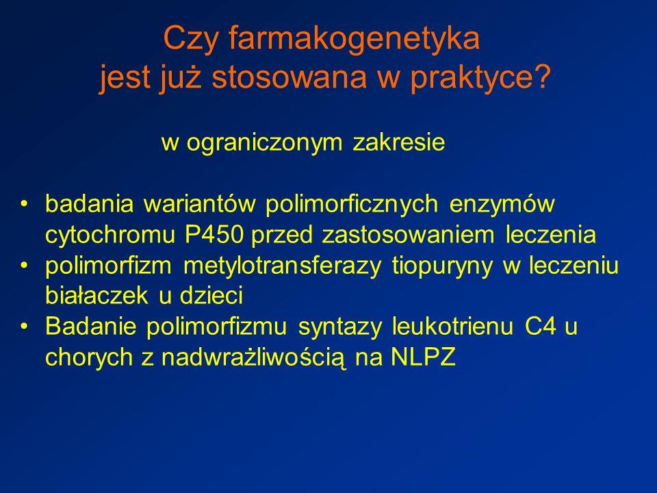 Czy farmakogenetyka jest już stosowana w praktyce.