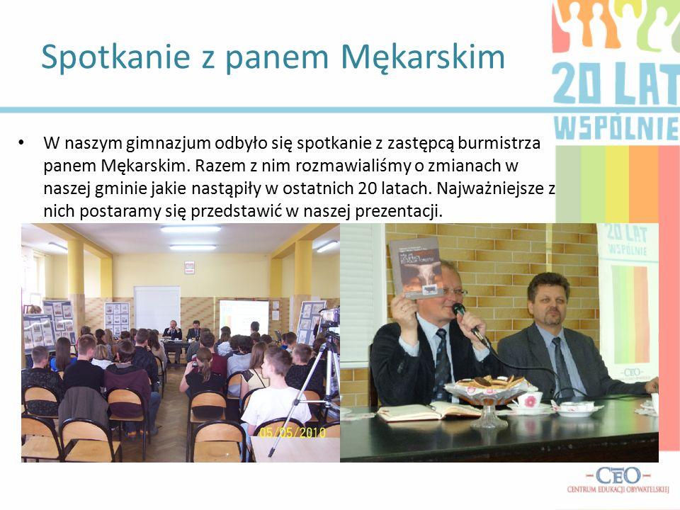 Spotkanie z panem Mękarskim W naszym gimnazjum odbyło się spotkanie z zastępcą burmistrza panem Mękarskim.