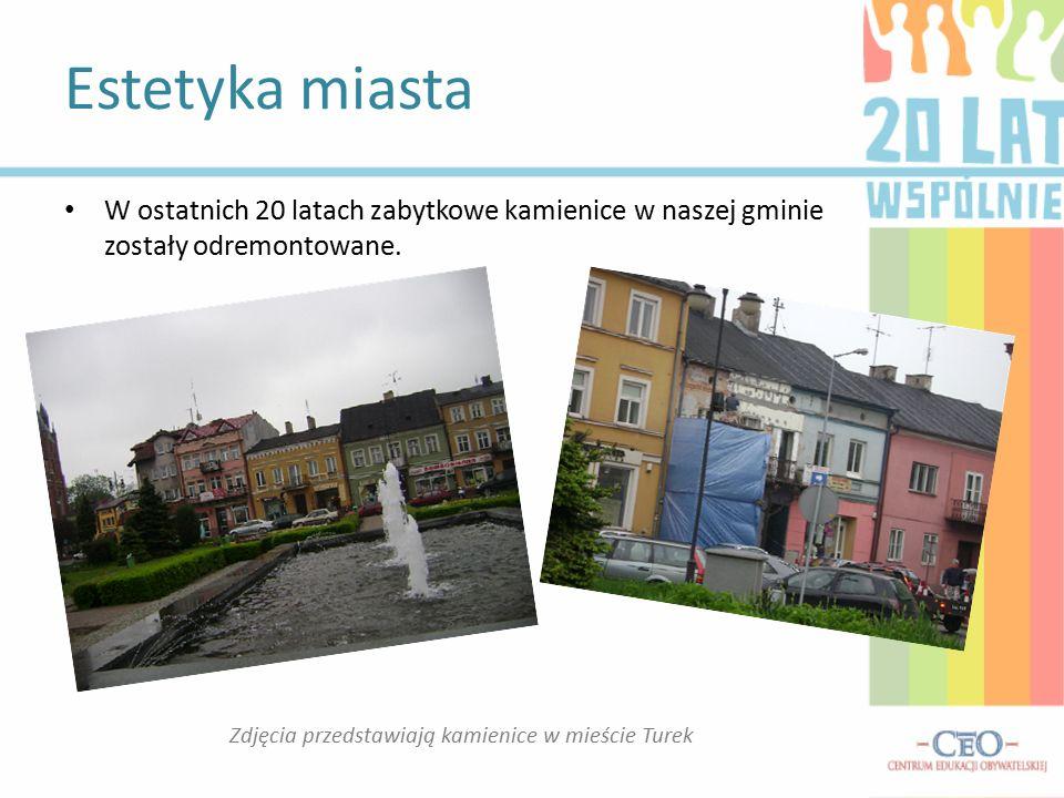 Estetyka miasta Zdjęcia przedstawiają kamienice w mieście Turek W ostatnich 20 latach zabytkowe kamienice w naszej gminie zostały odremontowane.