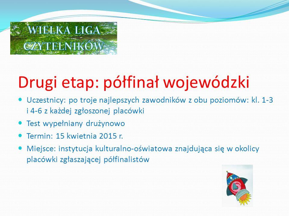 Trzeci etap: finał ogólnopolski Uczestnicy: po 7 drużyn z całej Polski, które w półfinale uzyskają 7 najlepszych wyników z testu półfinałowego na obydwu poziomach (kl.