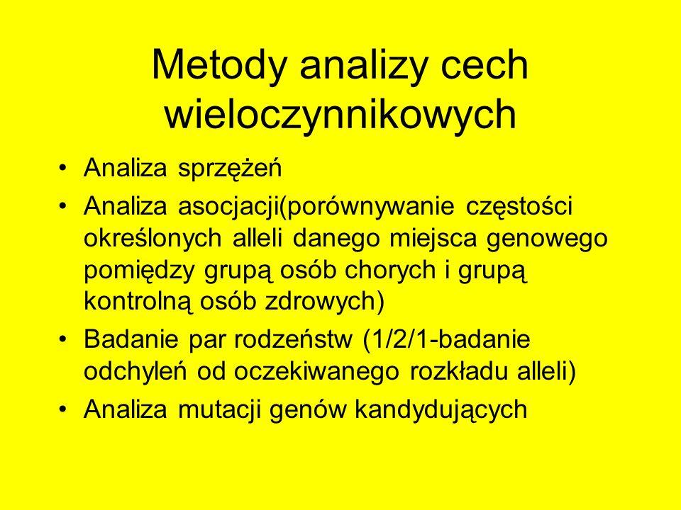 Metody analizy cech wieloczynnikowych Analiza sprzężeń Analiza asocjacji(porównywanie częstości określonych alleli danego miejsca genowego pomiędzy gr