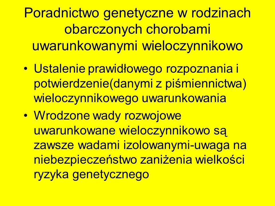 Poradnictwo genetyczne w rodzinach obarczonych chorobami uwarunkowanymi wieloczynnikowo Ustalenie prawidłowego rozpoznania i potwierdzenie(danymi z pi