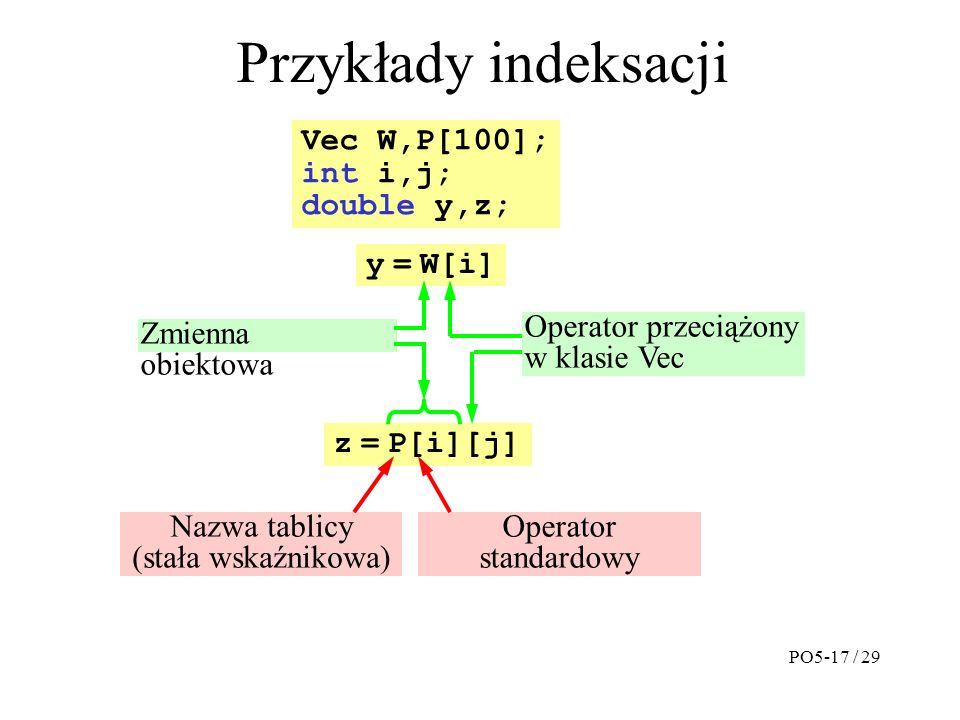 Przykłady indeksacji y = W[i] z = P[i][j] Vec W,P[100]; int i,j; double y,z; Zmienna obiektowa Operator przeciążony w klasie Vec Nazwa tablicy (stała wskaźnikowa) Operator standardowy PO5-17 / 29