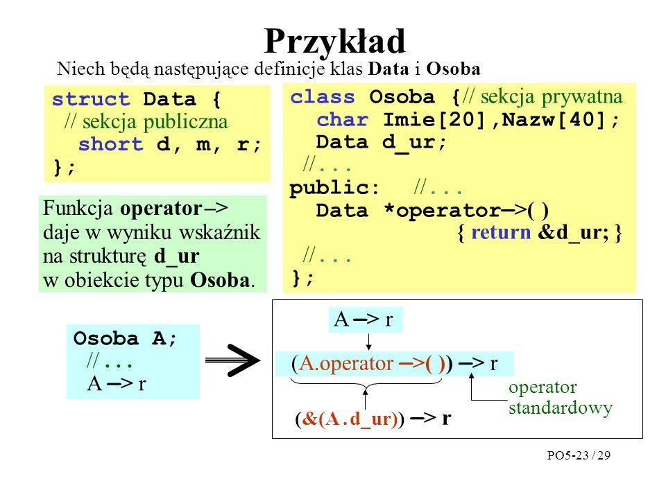 Przykład struct Data { // sekcja publiczna short d, m, r; }; Niech będą następujące definicje klas Data i Osoba class Osoba { // sekcja prywatna char Imie[20],Nazw[40]; Data d_ur; //...
