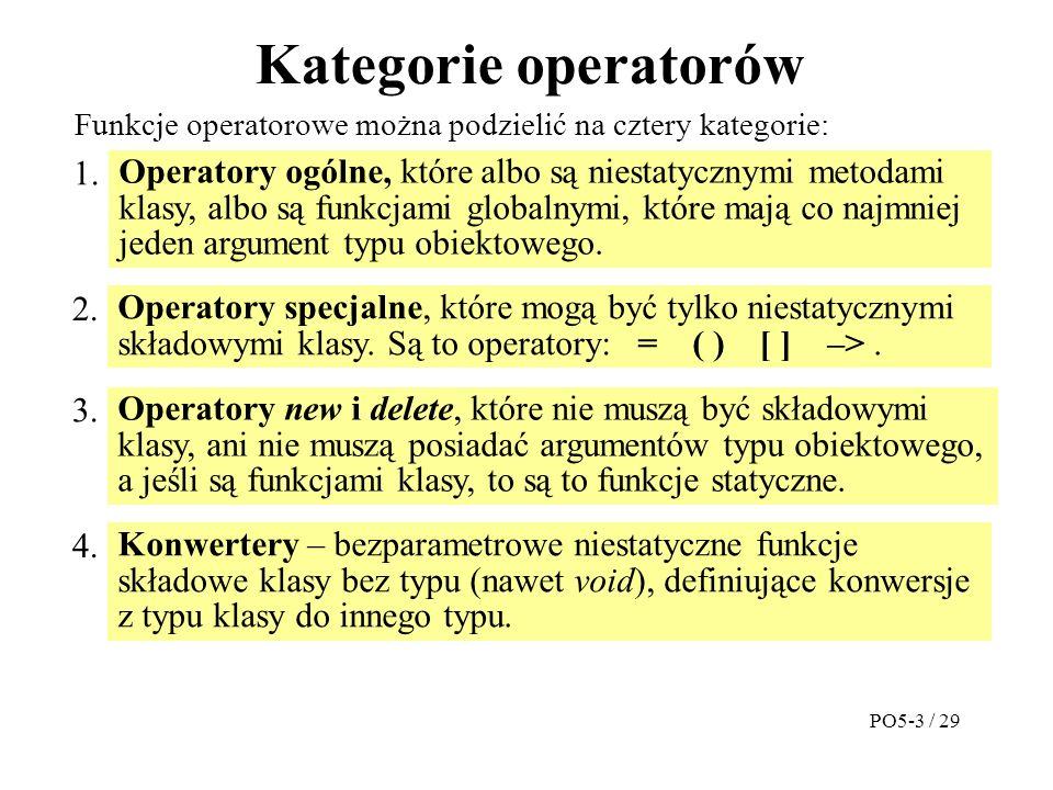Kategorie operatorów Operatory ogólne, które albo są niestatycznymi metodami klasy, albo są funkcjami globalnymi, które mają co najmniej jeden argument typu obiektowego.