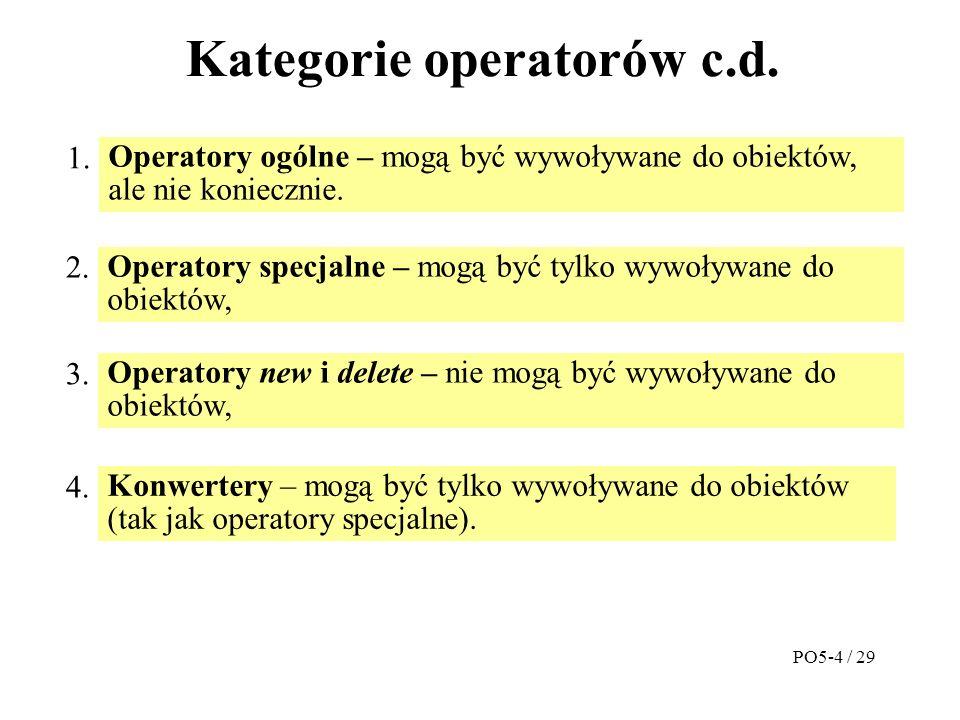 Kategorie operatorów c.d. Operatory ogólne – mogą być wywoływane do obiektów, ale nie koniecznie.