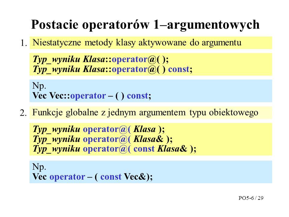 Postacie operatorów 1–argumentowych Niestatyczne metody klasy aktywowane do argumentu 1.