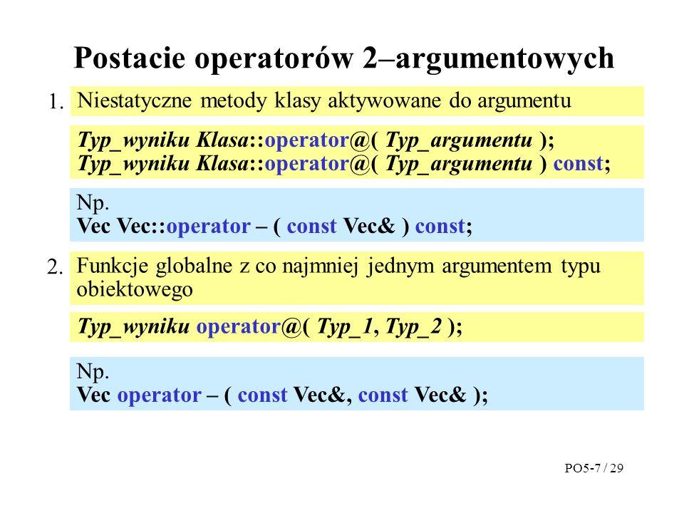 Postacie operatorów 2–argumentowych Niestatyczne metody klasy aktywowane do argumentu 1.