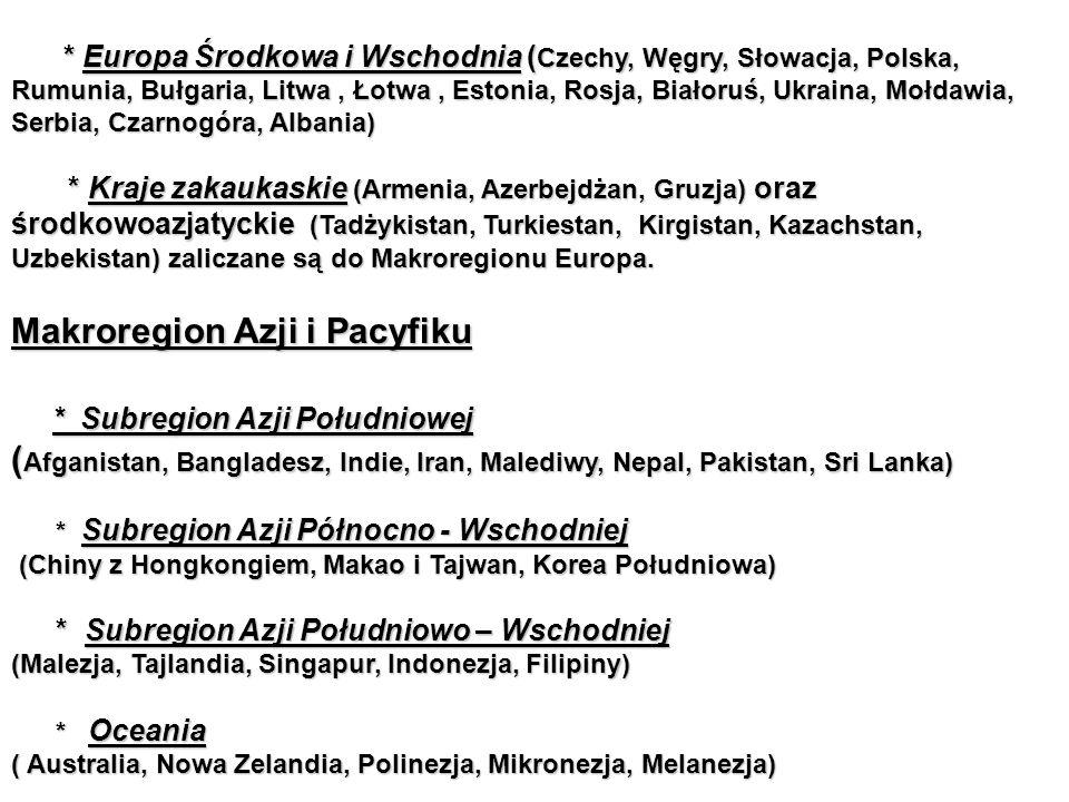 * Europa Środkowa i Wschodnia ( Czechy, Węgry, Słowacja, Polska, Rumunia, Bułgaria, Litwa, Łotwa, Estonia, Rosja, Białoruś, Ukraina, Mołdawia, Serbia, Czarnogóra, Albania) * Europa Środkowa i Wschodnia ( Czechy, Węgry, Słowacja, Polska, Rumunia, Bułgaria, Litwa, Łotwa, Estonia, Rosja, Białoruś, Ukraina, Mołdawia, Serbia, Czarnogóra, Albania) * Kraje zakaukaskie (Armenia, Azerbejdżan, Gruzja) oraz środkowoazjatyckie (Tadżykistan, Turkiestan, Kirgistan, Kazachstan, Uzbekistan) zaliczane są do Makroregionu Europa.