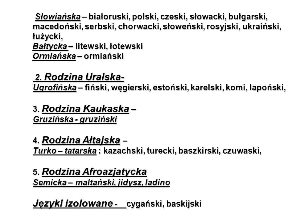 Słowiańska – białoruski, polski, czeski, słowacki, bułgarski, macedoński, serbski, chorwacki, słoweński, rosyjski, ukraiński, łużycki, Słowiańska – białoruski, polski, czeski, słowacki, bułgarski, macedoński, serbski, chorwacki, słoweński, rosyjski, ukraiński, łużycki, Bałtycka – litewski, łotewski Bałtycka – litewski, łotewski Ormiańska – ormiański Ormiańska – ormiański 2.