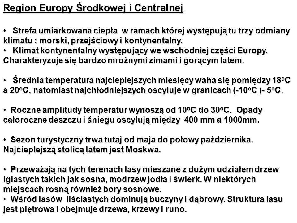 Region Europy Środkowej i Centralnej Strefa umiarkowana ciepła w ramach której występują tu trzy odmiany klimatu : morski, przejściowy i kontynentalny.