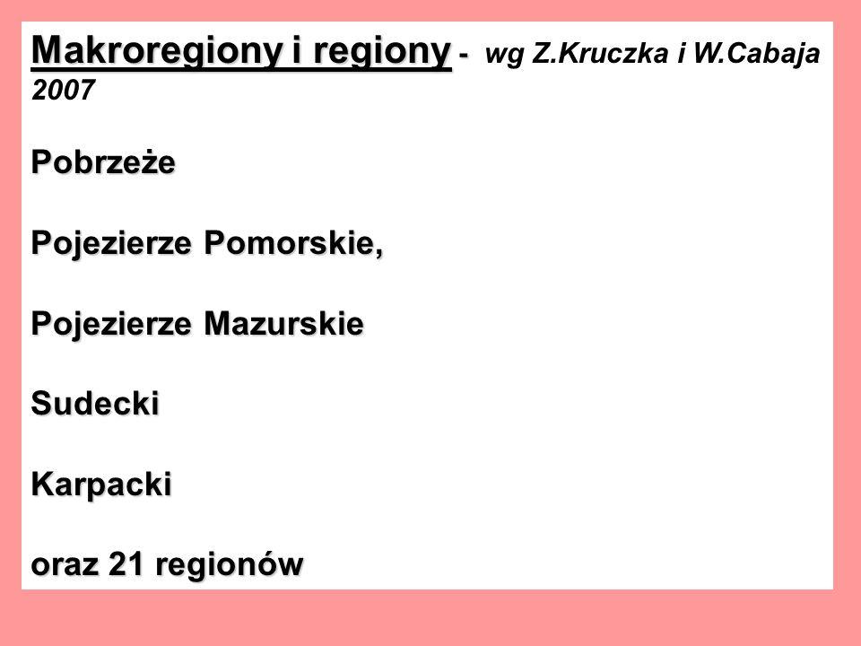 Makroregiony i regiony - Makroregiony i regiony - wg Z.Kruczka i W.Cabaja 2007Pobrzeże Pojezierze Pomorskie, Pojezierze Mazurskie SudeckiKarpacki oraz 21 regionów