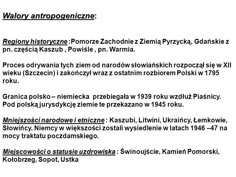 Walory antropogeniczne Walory antropogeniczne: Regiony historyczne Regiony historyczne :Pomorze Zachodnie z Ziemią Pyrzycką, Gdańskie z pn.