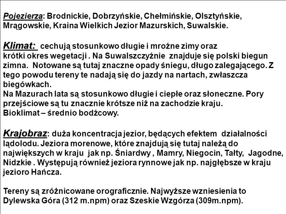 Pojezierza Pojezierza: Brodnickie, Dobrzyńskie, Chełmińskie, Olsztyńskie, Mrągowskie, Kraina Wielkich Jezior Mazurskich, Suwalskie.