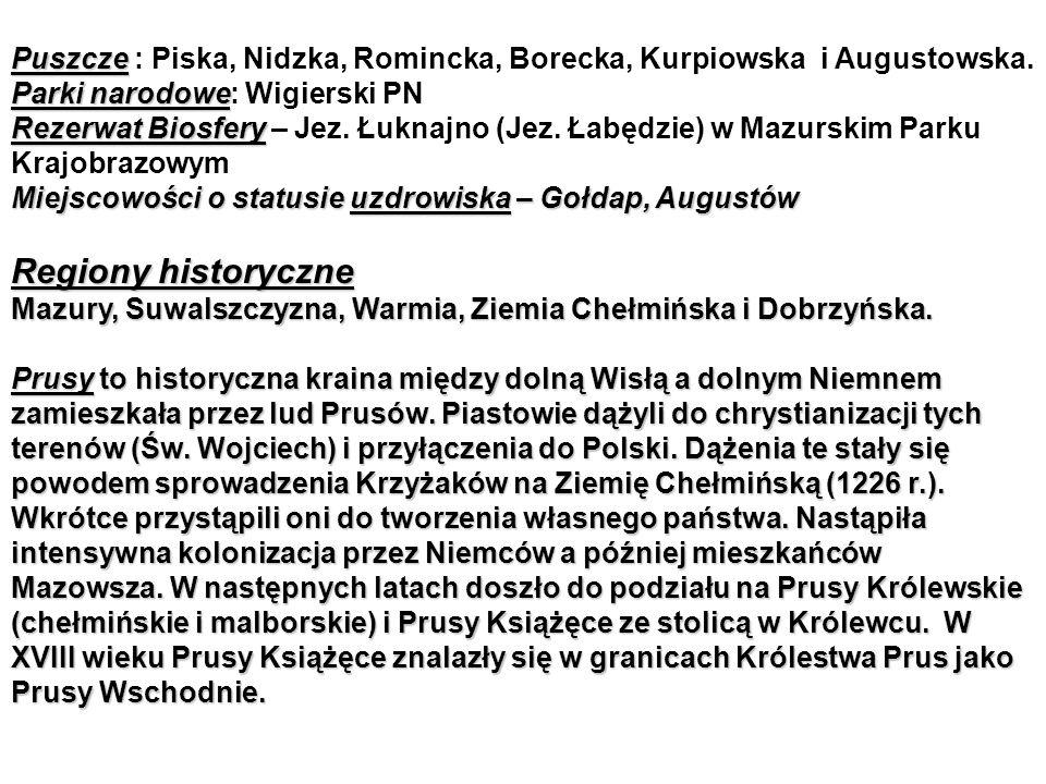 Puszcze Parki narodowe Puszcze : Piska, Nidzka, Romincka, Borecka, Kurpiowska i Augustowska.