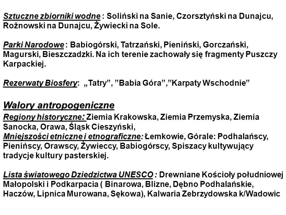 Sztuczne zbiorniki wodne Sztuczne zbiorniki wodne : Soliński na Sanie, Czorsztyński na Dunajcu, Rożnowski na Dunajcu, Żywiecki na Sole.