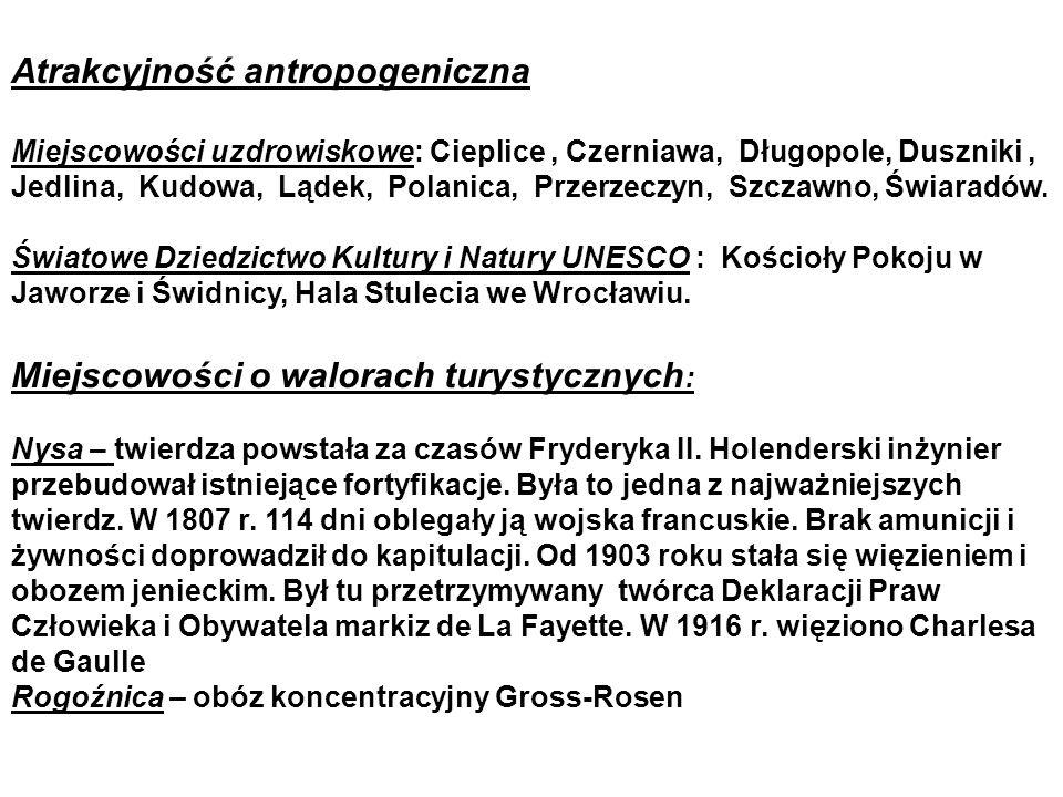 Atrakcyjność antropogeniczna Miejscowości uzdrowiskowe: Cieplice, Czerniawa, Długopole, Duszniki, Jedlina, Kudowa, Lądek, Polanica, Przerzeczyn, Szczawno, Świaradów.