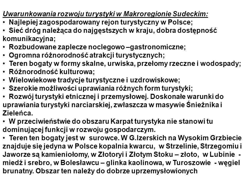 Uwarunkowania rozwoju turystyki w Makroregionie Sudeckim: Najlepiej zagospodarowany rejon turystyczny w Polsce; Sieć dróg należąca do najgęstszych w kraju, dobra dostępność komunikacyjna; Rozbudowane zaplecze noclegowo –gastronomiczne; Ogromna różnorodność atrakcji turystycznych; Teren bogaty w formy skalne, urwiska, przełomy rzeczne i wodospady; Różnorodność kulturowa; Wielowiekowe tradycje turystyczne i uzdrowiskowe; Szerokie możliwości uprawiania różnych form turystyki; Rozwój turystyki etnicznej i przemysłowej.