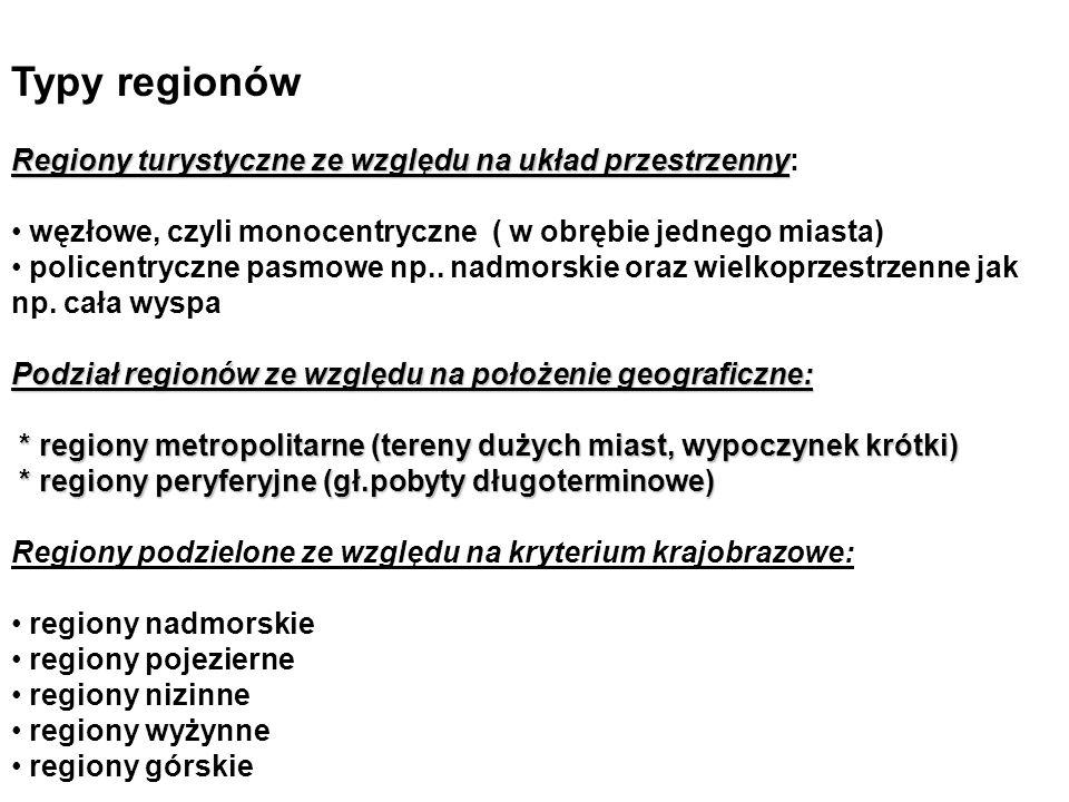 Typy regionów Regiony turystyczne ze względu na układ przestrzenny Regiony turystyczne ze względu na układ przestrzenny: węzłowe, czyli monocentryczne ( w obrębie jednego miasta) policentryczne pasmowe np..