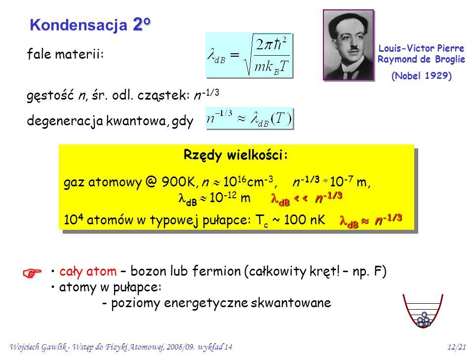 Wojciech Gawlik - Wstęp do Fizyki Atomowej, 2008/09. wykład 1412/21 fale materii: gęstość n, śr. odl. cząstek: n -1/3 degeneracja kwantowa, gdy Rzędy