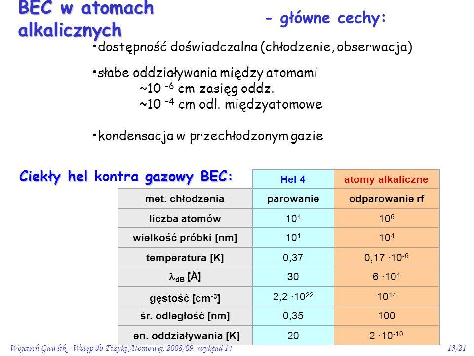Wojciech Gawlik - Wstęp do Fizyki Atomowej, 2008/09. wykład 1413/21 dostępność doświadczalna (chłodzenie, obserwacja) słabe oddziaływania między atoma