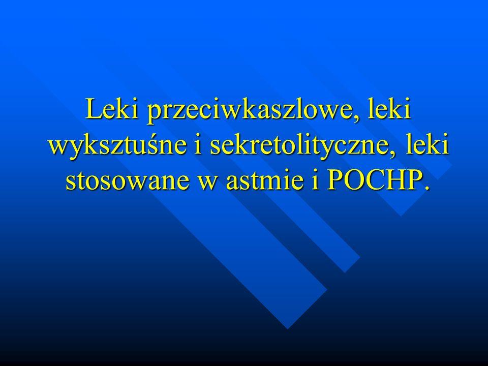 Pochodne cysteiny Acetylocysteina i karbocysteina Acetylocysteina i karbocysteina Mechanizm działania: rozrywanie wiązań dwusiarczkowych w polipeptydach śluzu Mechanizm działania: rozrywanie wiązań dwusiarczkowych w polipeptydach śluzu Wskazania do stosowania: stany chorobowe z obecnością wydzieliny o dużej lepkości np.