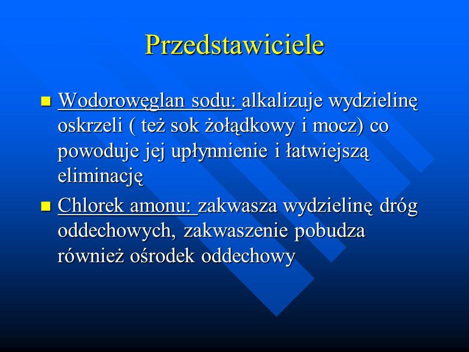 Przedstawiciele Wodorowęglan sodu: alkalizuje wydzielinę oskrzeli ( też sok żołądkowy i mocz) co powoduje jej upłynnienie i łatwiejszą eliminację Wodo