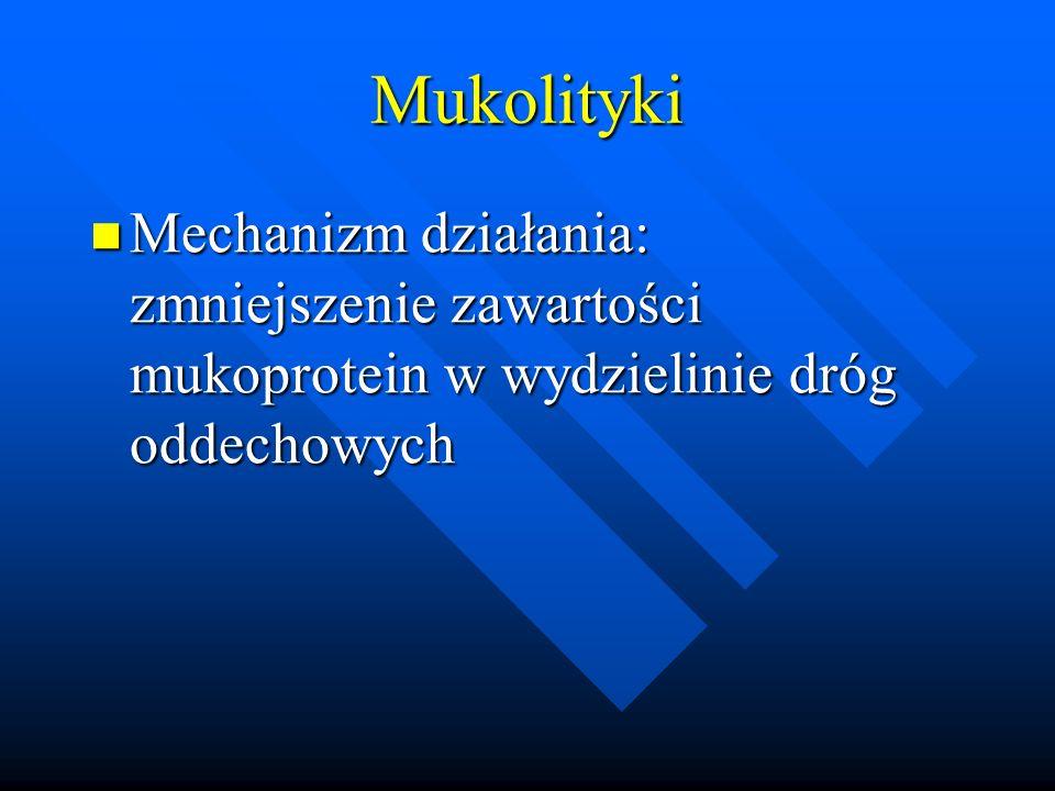 Mukolityki Mechanizm działania: zmniejszenie zawartości mukoprotein w wydzielinie dróg oddechowych Mechanizm działania: zmniejszenie zawartości mukopr