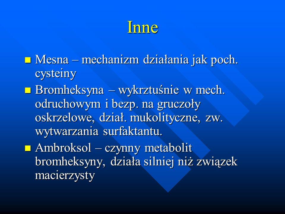 Inne Mesna – mechanizm działania jak poch. cysteiny Mesna – mechanizm działania jak poch. cysteiny Bromheksyna – wykrztuśnie w mech. odruchowym i bezp