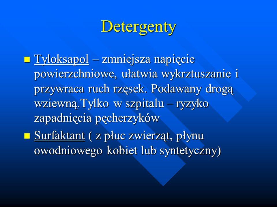 Detergenty Tyloksapol – zmniejsza napięcie powierzchniowe, ułatwia wykrztuszanie i przywraca ruch rzęsek. Podawany drogą wziewną.Tylko w szpitalu – ry