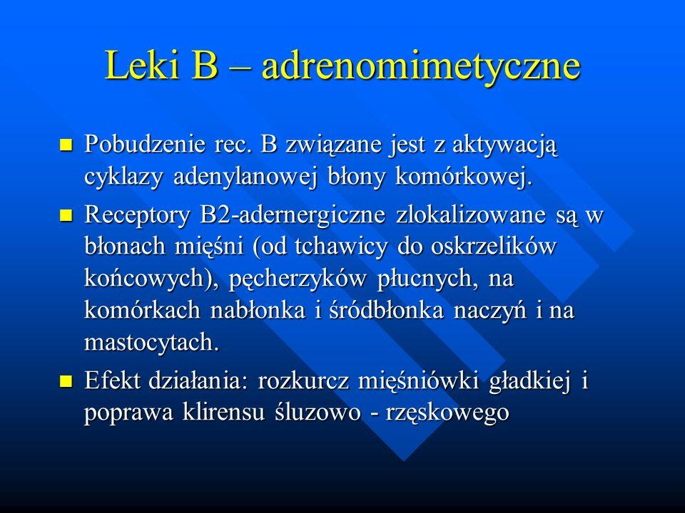 Leki B – adrenomimetyczne Pobudzenie rec. B związane jest z aktywacją cyklazy adenylanowej błony komórkowej. Pobudzenie rec. B związane jest z aktywac