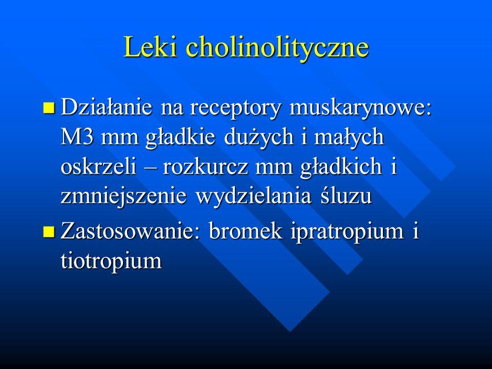 Leki cholinolityczne Działanie na receptory muskarynowe: M3 mm gładkie dużych i małych oskrzeli – rozkurcz mm gładkich i zmniejszenie wydzielania śluz