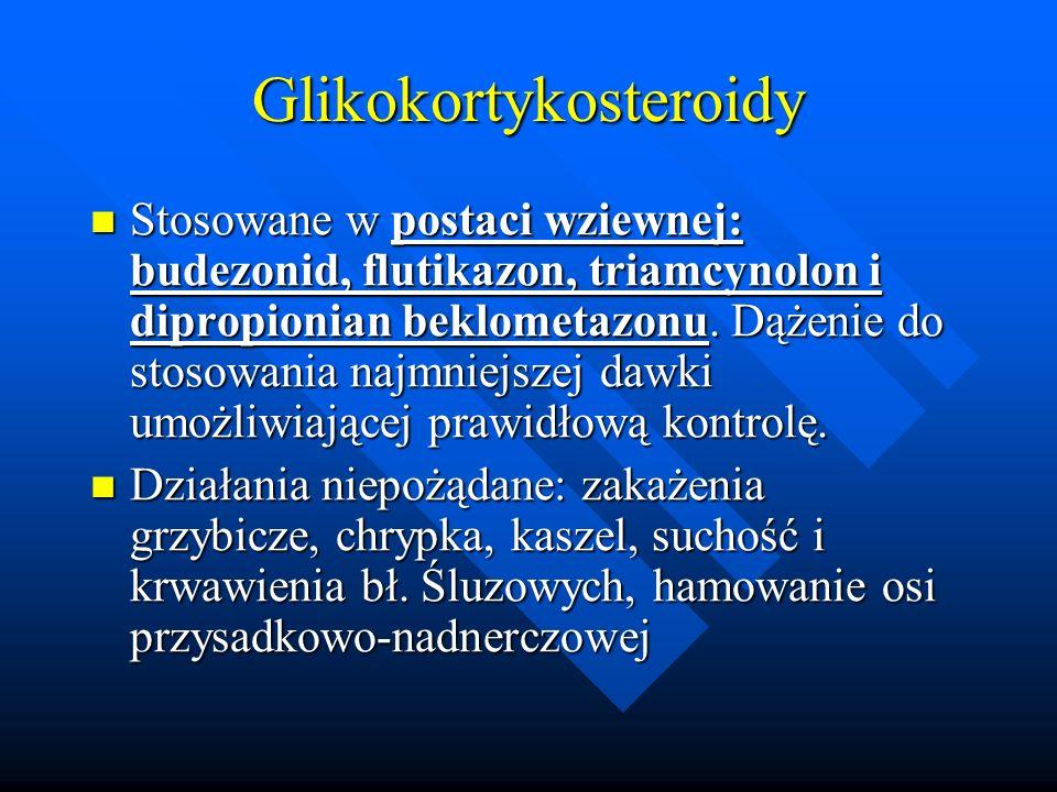 Glikokortykosteroidy Stosowane w postaci wziewnej: budezonid, flutikazon, triamcynolon i dipropionian beklometazonu. Dążenie do stosowania najmniejsze