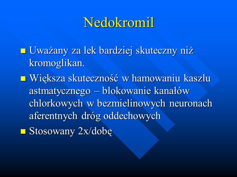 Nedokromil Uważany za lek bardziej skuteczny niż kromoglikan. Uważany za lek bardziej skuteczny niż kromoglikan. Większa skuteczność w hamowaniu kaszl