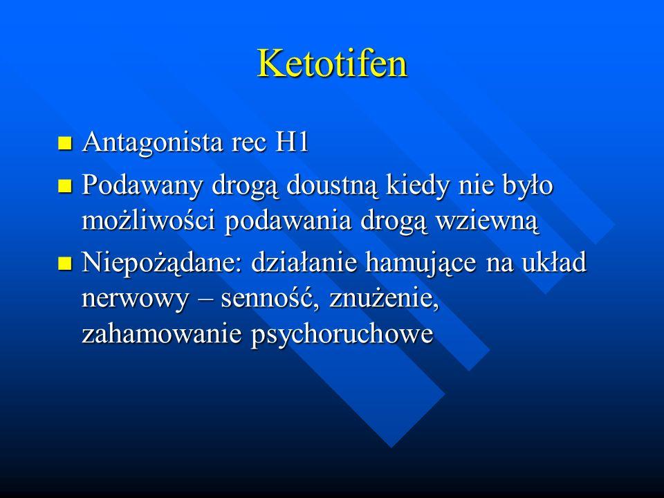 Ketotifen Antagonista rec H1 Antagonista rec H1 Podawany drogą doustną kiedy nie było możliwości podawania drogą wziewną Podawany drogą doustną kiedy