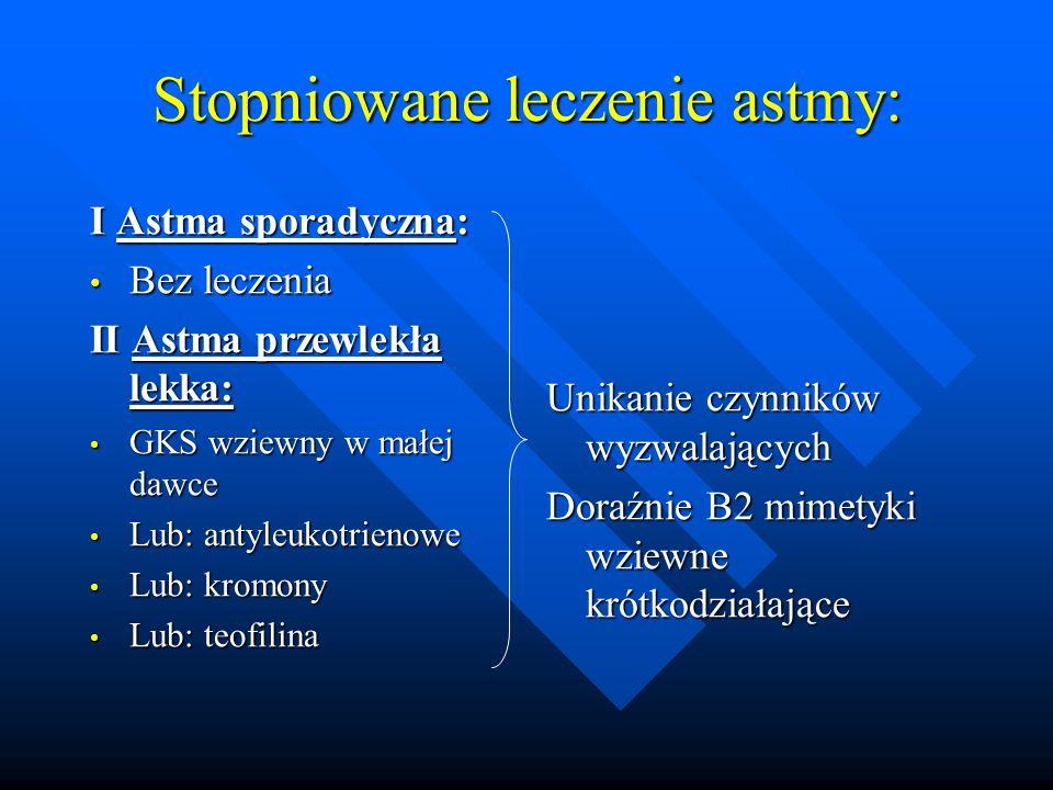 Stopniowane leczenie astmy: I Astma sporadyczna: Bez leczenia Bez leczenia II Astma przewlekła lekka: GKS wziewny w małej dawce GKS wziewny w małej da