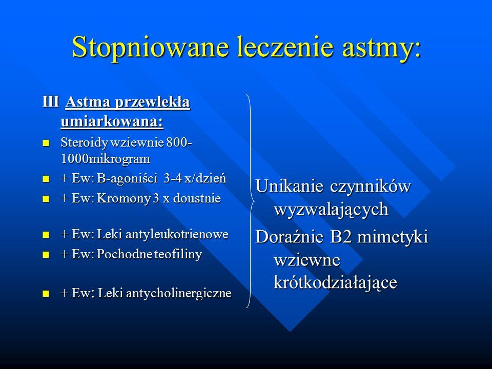 Stopniowane leczenie astmy: III Astma przewlekła umiarkowana: Steroidy wziewnie 800- 1000mikrogram Steroidy wziewnie 800- 1000mikrogram + Ew: B-agoniś