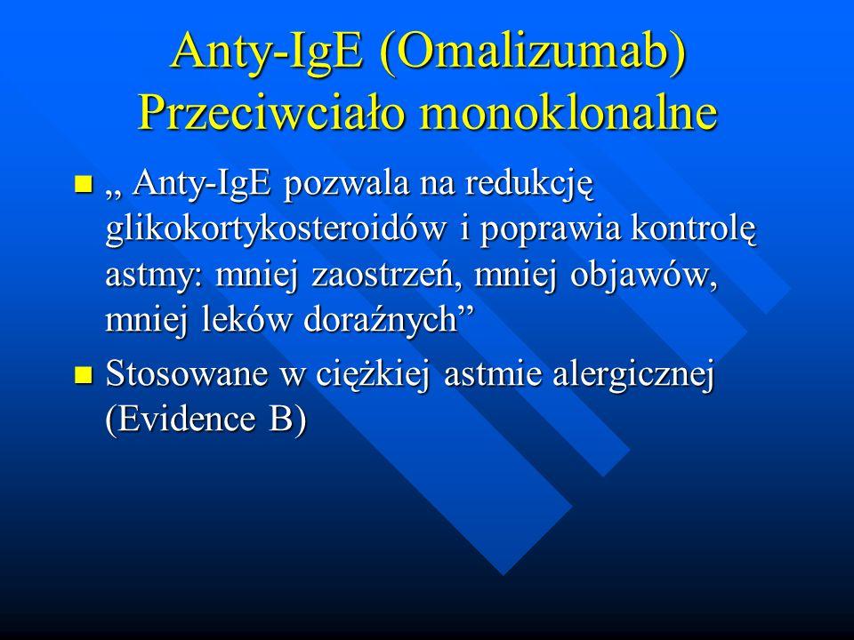 """Anty-IgE (Omalizumab) Przeciwciało monoklonalne """" Anty-IgE pozwala na redukcję glikokortykosteroidów i poprawia kontrolę astmy: mniej zaostrzeń, mniej"""