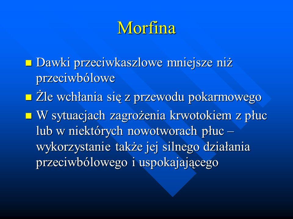 Oksykodon Działanie p/bólowe i p/kaszlowe podobne do morfiny Działanie p/bólowe i p/kaszlowe podobne do morfiny Łatwo wywołuje euforię i zależność Łatwo wywołuje euforię i zależność Podawany głównie podskórnie Podawany głównie podskórnie W Polsce także w postaci pozajelitowej ( Eucodalum) i jako preparat złożony – Scofedal ( hioscyna, oksykodon, efedryna) stosowany w premedykacji chirurgicznej W Polsce także w postaci pozajelitowej ( Eucodalum) i jako preparat złożony – Scofedal ( hioscyna, oksykodon, efedryna) stosowany w premedykacji chirurgicznej