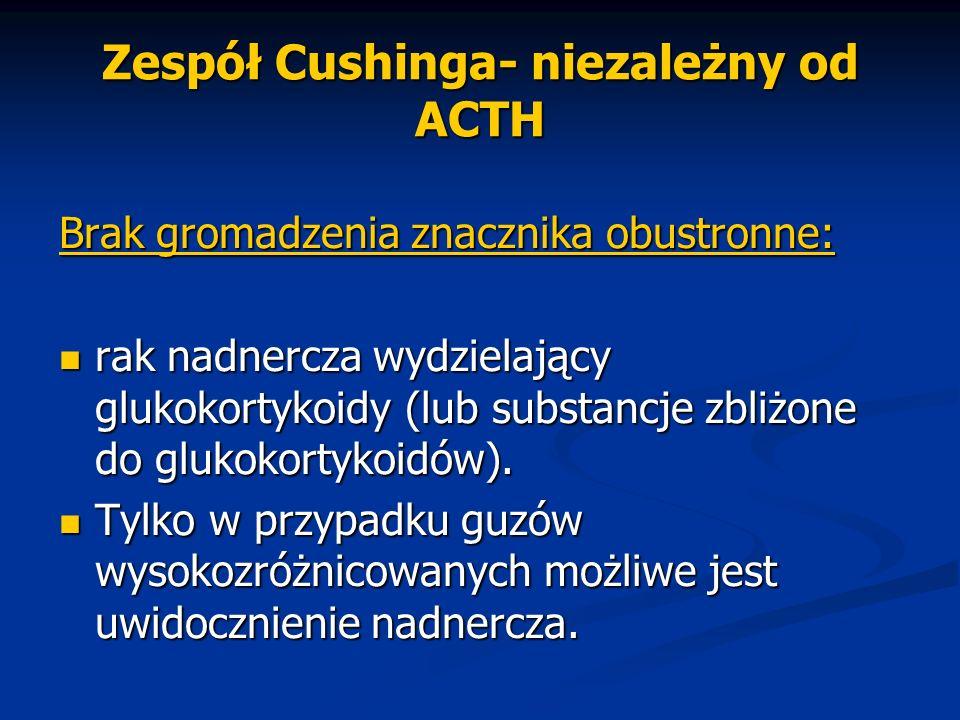 Zespół Cushinga- niezależny od ACTH Brak gromadzenia znacznika obustronne: rak nadnercza wydzielający glukokortykoidy (lub substancje zbliżone do gluk