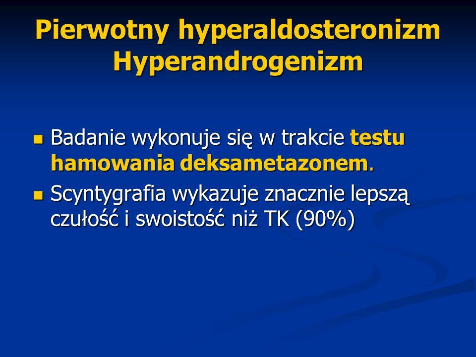 Pierwotny hyperaldosteronizm Hyperandrogenizm Badanie wykonuje się w trakcie testu hamowania deksametazonem. Badanie wykonuje się w trakcie testu hamo