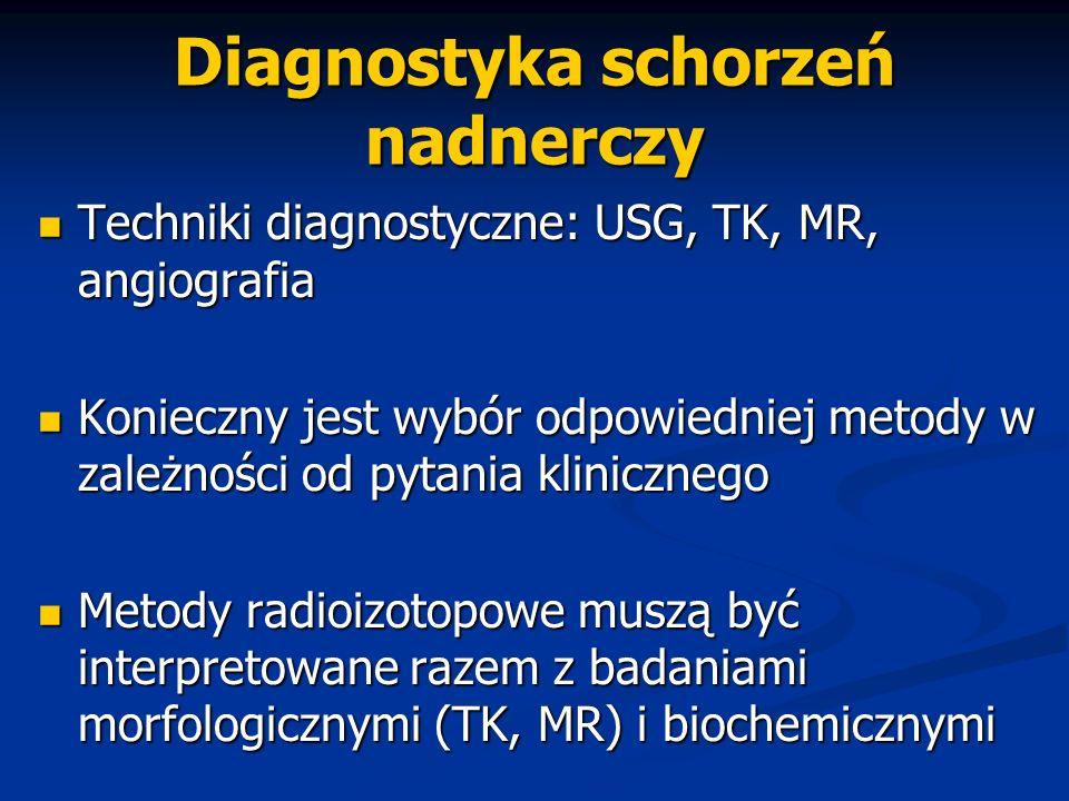 Diagnostyka schorzeń nadnerczy Techniki diagnostyczne: USG, TK, MR, angiografia Techniki diagnostyczne: USG, TK, MR, angiografia Konieczny jest wybór