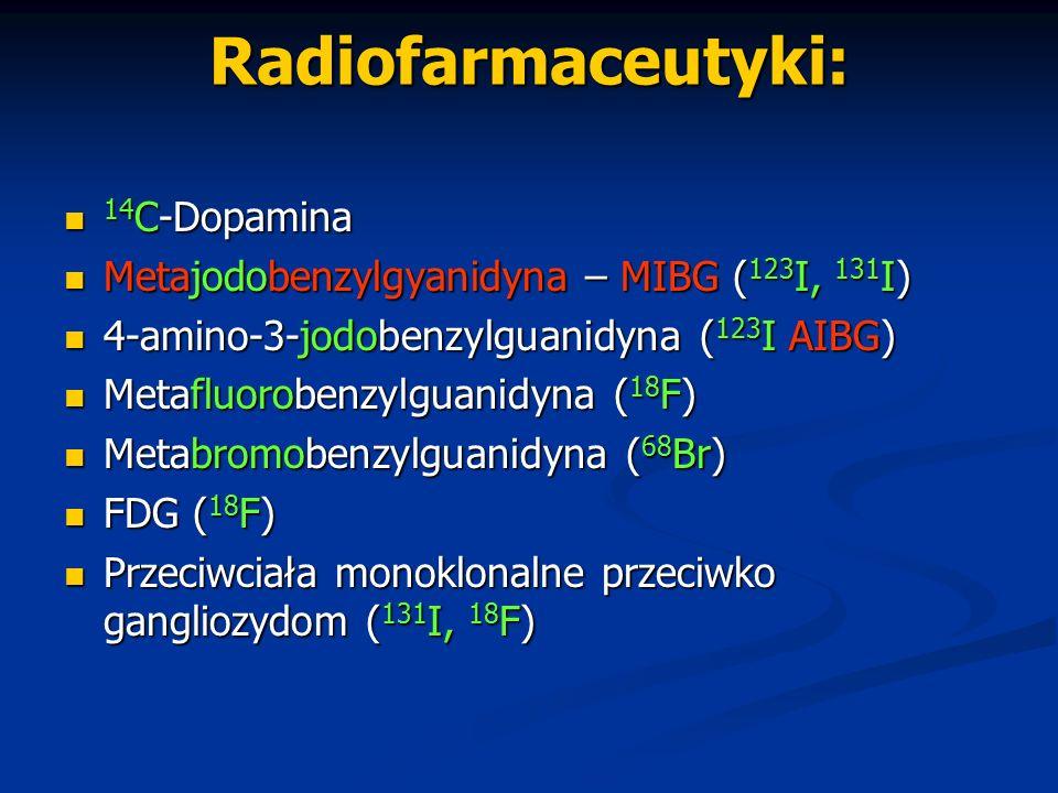 Radiofarmaceutyki: 14 C-Dopamina 14 C-Dopamina Metajodobenzylgyanidyna – MIBG ( 123 I, 131 I) Metajodobenzylgyanidyna – MIBG ( 123 I, 131 I) 4-amino-3